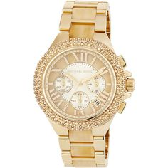 Michael Michael Kors 43mm Camille Glitz Chronograph Bracelet Watch ($180) ❤ liked on Polyvore featuring jewelry, watches, leather-strap watches, chronograph watches, stainless steel watch bracelet, yellow watches and golden watches