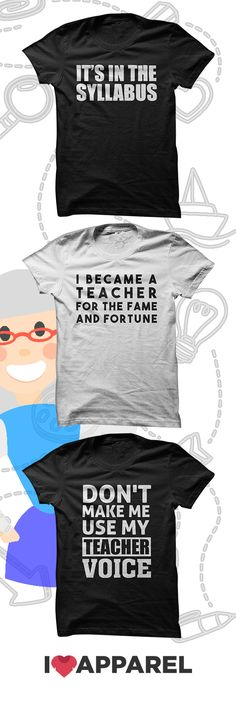 The perfect gift for any teacher. Come check out our selection of teacher t-shirts and hoodies and get free US shipping when you buy two or more items. Teacher Wardrobe, Teacher Outfits, Teacher Shirts, T Shirts For Teachers, Teacher Clothes, School Shirts, Teacher Appreciation Week, Teacher Humor, My Teacher
