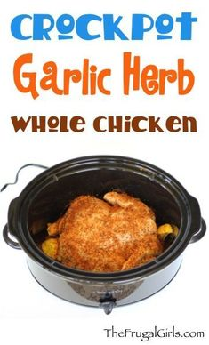 #Crockpot Garlic Herb Whole Chicken #slowcooker
