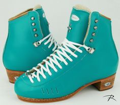 Turquoise represents, through the psychology of color, a recharging of spirits. What color calls to you? Pick your favorite color today! Inline Skating, Ice Skating, Figure Skating, Custom Boots, Color Psychology, Skates, Timberland Boots, Favorite Color, Skateboard