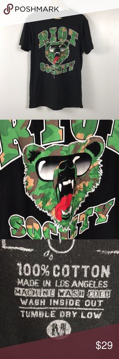 Urban Outfitters Riot Society Wild 🐻 Tee Dope tee gently worn. 🐻 Urban Outfitters Shirts Tees - Short Sleeve