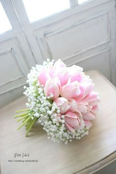 pretty tulips make a beautiful bouquet along with baby's breath.just maybe different colour tulips! Tulip Wedding, White Wedding Bouquets, Bride Bouquets, Wedding White, Gypsophila Bouquet, Bouqets, Wedding Colors, Pink Bouquet, White Tulip Bouquet
