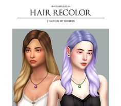 """aquarius4sun: """" @grimcookies's Vicki Hair & @aharris00britney's Havana Hair - recolored in my ombres • do not claim as your own • requires the mesh 1 // 2 • 7 of my ombre colors: """"download """" """""""