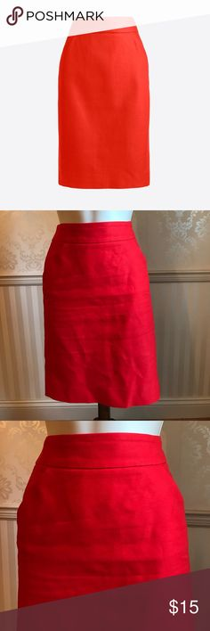 "J. Crew Red Cotton Pencil Skirt J. Crew vibrant red pencil skirt in excellent condition! Sits at waist. Concealed back zipper. Back vent. 21.5"" long. 100% cotton. Size 2. J. Crew Skirts Pencil"