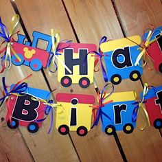 MIckey Mouse Clubhouse Birthday Banner - Train Banner MIckey Mouse Birthday party via Etsy 16th Birthday Card, Diy Birthday Banner, Trains Birthday Party, Birthday Party Tables, Birthday Wishes Cards, Diy Banner, Diy Birthday Decorations, 3rd Birthday, Train Party