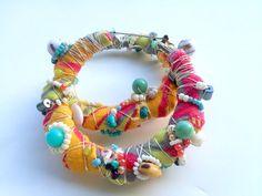 Sherbert Mambas - Recycled Fabric and Beaded Doorknocker Hoop Earrings