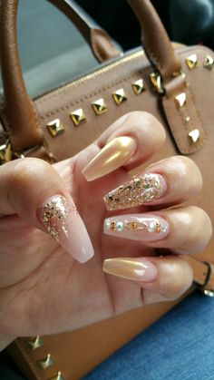 #coffin nails #gold #nude