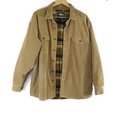 Levi Strauss Corduroy Jacket Button Front Fleece Lined Tan Cotton Size Large #LeviStraussCo #ShirtJacket