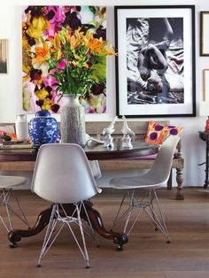 Love the table and chairs mix---Henry van Belkom photo, Mariska Meijer home tour in Rue