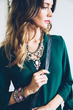 layered jewels with emerald green