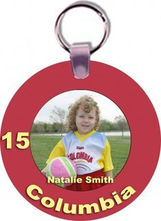 Create your own custom full color Round Sports Key Tag with your favorite picture, mascot and text. Custom Key Tags make a great gift for mom, coach gifts, sponsor gifts and player gifts.  Give your team, MVP Players or coaches a special gift. Custom Key Tags are full color, personalized key tags that are strong and can include their name, photo, team's name, mascot or other text.