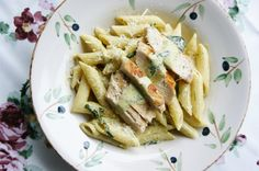 Easy made chicken pasta with pesto sauce