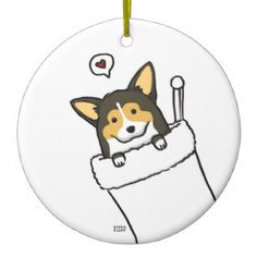 Stocking Corgs Double-Sided Ceramic Round Christmas Ornament