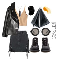 """""""cashhhh"""" by vandkant ❤ liked on Polyvore featuring WithChic, Topshop, adidas, Christopher Kane, McQ by Alexander McQueen, Tangle Teezer, black, denim, skirt and adiddas"""