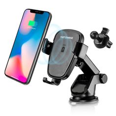 Saienitisi Wireless Car Charger Mount,LED 10W 7.5W Fast Charging Car Mount,Air Vent,360/° Rotation,Fast Charging Windshield Dashboard /& Vent Car Phone Holder,Compatible with X