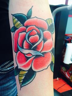 Traditional American Rose Tattoo by Demian Thompson at The Parlour Tattoo in Eugene Oregon.. I am in LOVE with this one!!