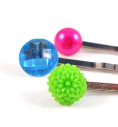 Bobby Pin Set Neon Hot Pink Lime Green Bright by foreverandrea, Tween Hair Accessories Fashion