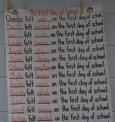 First Day of School predictable chart to go with The Kissing Hand
