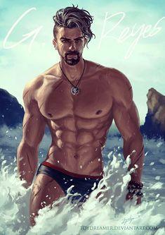 Summer-watch: Baberiel Reyes by on Character Inspiration, Character Art, Overwatch Reaper, Fantasy Art Men, Art Of Man, Bd Comics, Hommes Sexy, Bear Art, Hot Anime Guys