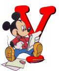 Alfabeto de Mickey Mouse en diferentes posturas y vestuarios.