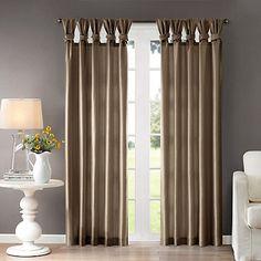 Madison Park Emilia 84-Inch Twist Tab Window Curtain Panel in Taupe