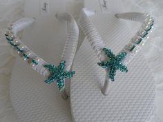 White Sposa infradito / sandali perle nuziale / blu bianco da Damigella scarpe /Aqua - Teal colore Starfish strass & Perle Infradito...