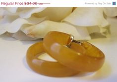 SALE Vintage Bakelite Hoop Earrings.