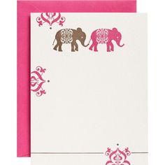India Elephant Cardstock-Printing Menu on Indian Patterned Paper