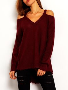 ROMWE - ROMWE Burgundy Cold Shoulder Loose Sweater - AdoreWe.com