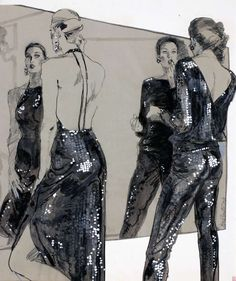 Two models in sequined evening attire, looking in a mirror Fashion Illustration American early Jackie Doyle, For Bullocks Department Store (American, Illustration Techniques, Fashion Illustration Sketches, Illustration Mode, Fashion Sketches, Dress Sketches, Design Illustrations, Fashion Design Sketchbook, Fashion Design Drawings, Fashion Portfolio Layout