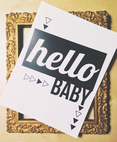 Hello Baby! Printable- Party, Baby Shower, Black & White wall art printable,typographic wall print, wall decor poster, INSTANT DOWNLOAD by LightandDarkShop