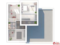 Plan de l'étage du modèle Côme (demi-niveau, style contemporain). Surface : 104m² + 34.44 m² surface annexe