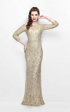 8f7a93cee9 Primavera Couture - Regal Sequined Long Sleeves Bateau Sheath Gown 1747