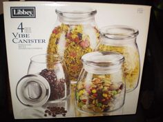 Libbey kitchen canisters (set of 4) in Bre's Garage Sale in St. Joseph , MO for $8. NIB glass canister set originally purchased from Bed, Bath & Beyond.