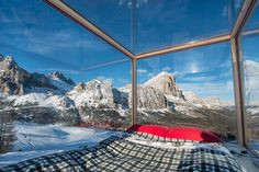 tiny starlight room in the dolomites offers dramatic views of the alpine landscape