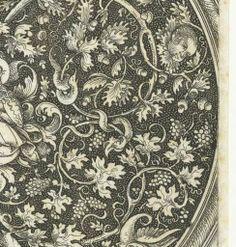 Medaillon met druivenranken, aardbeiplanten en grotesken, Daniel Hopfer (I), David Funck, 1480 - 1536 - Rijksmuseum
