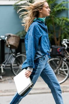 Copenhagen Streetstyle: Denim Oversized Blouse & Broken Stitches Denim