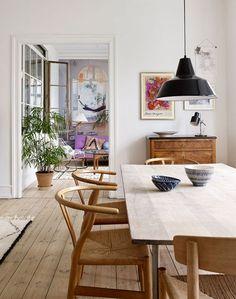 Scandinavian Dining Room Design: Ideas & Inspiration - Di Home Design Dining Room Inspiration, Dining Room Lighting, Home And Deco, Dining Room Design, Dining Furniture, Furniture Ideas, Furniture Design, Furniture Makeover, Antique Furniture