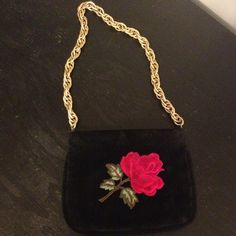 Link Chain Purse Black vintage link chain purse embroidered with red rosé on front Bags