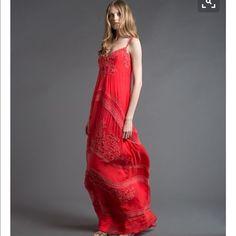 Alberta Ferretti Resort 2013 Silk Red Lace Maxi