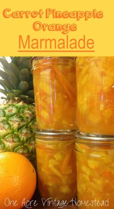 Carrot Pineapple Orange Marmalade made with shredded carrots, fresh pineapple, lemon rinds and oranges.