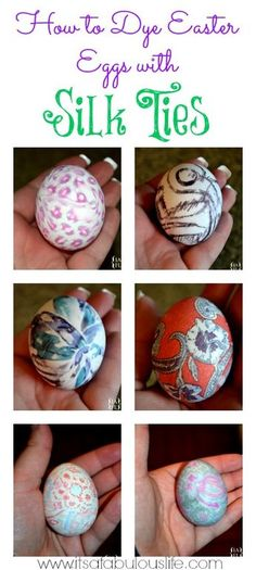 how to dye Easter Eggs with Silk Ties LOVE THESE!! Our eggs came out AWESOME!!!! It was SOO easy! Going to the thrift store again tonight so we can make more!!!