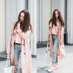 Get this look: http://lb.nu/look/8652277  More looks by Gabriela Grębska: http://lb.nu/mowmigaba  Items in this look:  Asos Blouse, Trench Coat, Jeans, Reebok Classic Club C, Asos Bag   #casual #sporty #street #ootd #outfit #pastel #pastels #trench #boyfriendjeans