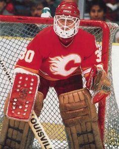 Mike Vernon, Calgary flames Ice Hockey Teams, Hockey Goalie, Hockey Games, Hockey Players, Hockey Stuff, Nhl, Goalie Mask, Photo Checks, Vernon