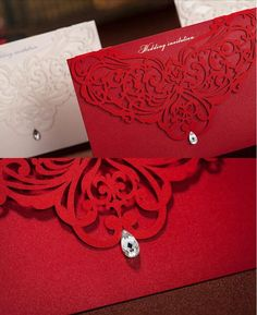 Black and Red Laser Cut Wedding Invitation by PAPER LACE