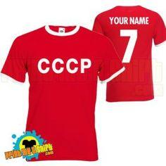 Custom-made Mens customisable cccp soviet football t shirt available at http://www.world-cup-products-worldwide.com/mens-customisable-cccp-soviet-football-t-shirt/