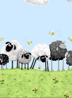 Susy Bee Lewe the Ewe Sheep Border fabric by PatchworkElephants, £11.95