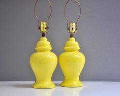 $236.58 Vintage Bright Yellow Hollywood Regency Ginger Jar Lamps