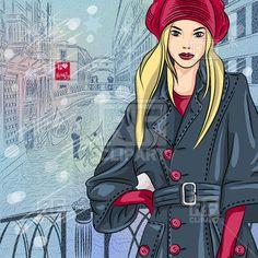 Beautiful fashion girl on the bridge in Venice