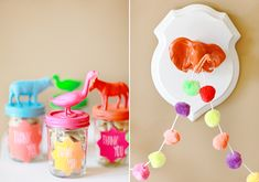 neon party favors - i do believe these are plastic animals from like the dollar store painted and glued to the lids. Kids Party Decorations, Kid Party Favors, Birthday Favors, Birthday Ideas, Party Ideas, Neon Birthday, Boy Birthday Parties, 2nd Birthday, Photography Kids